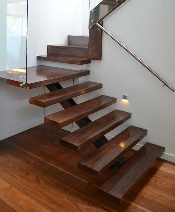 steel glass stairs design